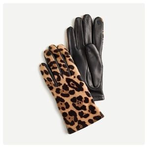 J. Crew Italian Calf Hair Leather Leopard Gloves